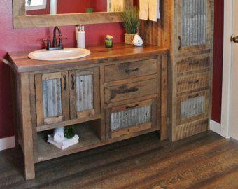 Rustic Bathroom Vanity 48 Reclaimed Barn Wood Vanity W Barn Tin 5710 Rustic Bathroom Vanities Reclaimed Barn Wood Vanity Rustic Vanity