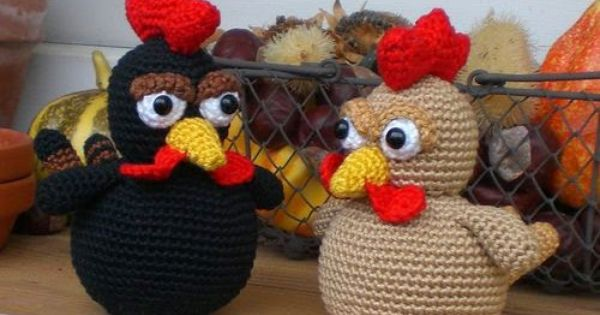 Fancy Goldfish Amigurumi By Kate Wood : black chicken & golden chicken-link to free pattern on the ...