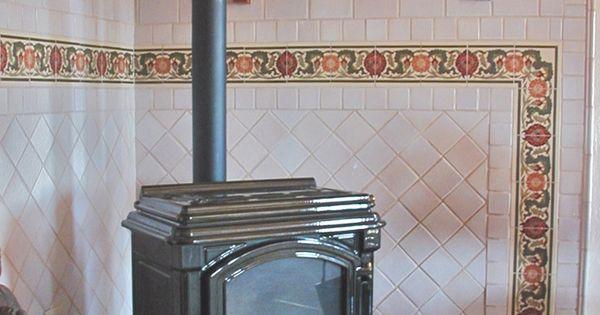 Arts crafts wood stove surround decorative ceramic tile for Decorative rocket stove