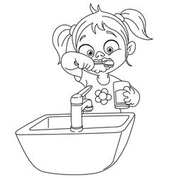 Outlined Girl Brushing Teeth Vector Vector