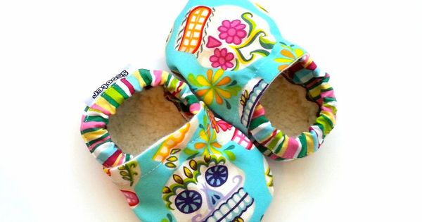 skull baby shoes toddler girl slippers pink and green aqua blue shoes