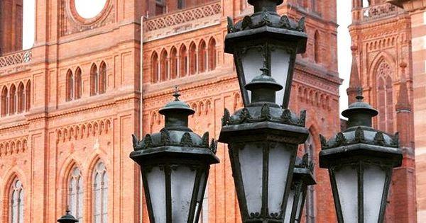 Market Church Of Wiesbaden Germany Clock Tower Lamp Post Street Light