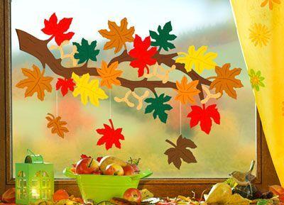Fensterbild Zweig Mit Blättern Fensterdeko Herbst