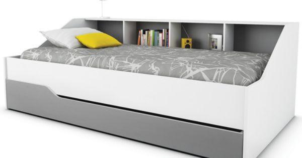 Lit banquette avec tiroir chambre pinterest for Petite banquette lit