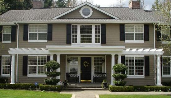 Taupe Exterior Paint With Black Shutters Home
