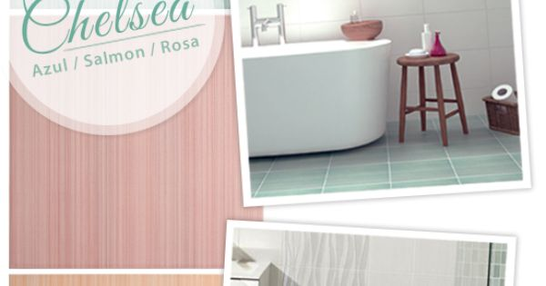Add color to your bathroom floor shown here chelsea azul for Salmon bathroom ideas