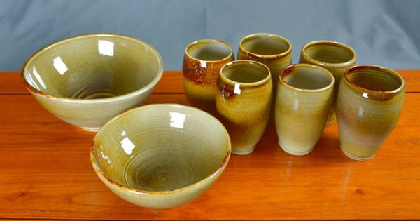 Ceramic Handleless Cup Hand Thrown Porcelain Pottery Caldwell Pottery Green Wine Glass Low Ball Glass Tumbler Whiskey