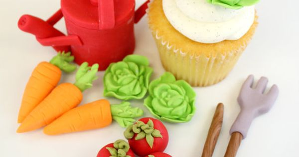 Edible Cake Decorations Vegetables : Edible Cupcake Toppers or Cake Topper Garden Vegetables- 1 ...