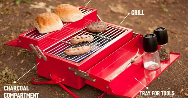 Bbq Toolbox A Portable Barbecue That Resembles A Classic Metal Toolbox Portable Bbq Portable Barbecue Portable Bbq Grill