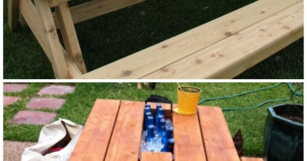 Replace board of picnic table with rain gutter. Fill with ice and enjoy! ... How does ...