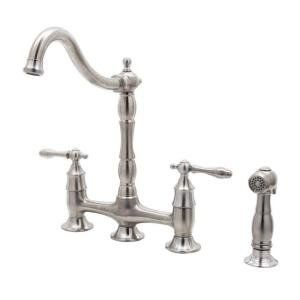 Pegasus Glacier Bay Lyndhurst Bridge Kitchen Faucet Brushed Nickel