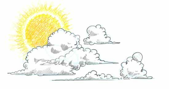 No More Boring Skies Learn How To Draw Clouds Step By Step In This Free Online Art Lesson Draw A Cloudscape By Adding The Sun And Cloud Drawing Drawings Art