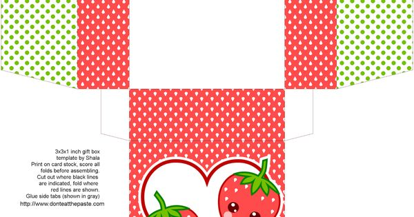 cute strawberry gift box to print and make   My Creations ...