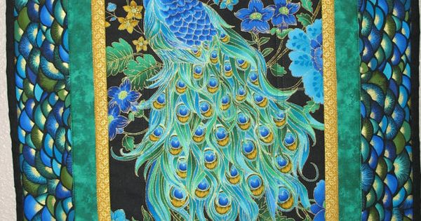 Peacock Wall Art Or Table Runner Quilted By