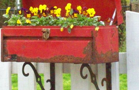 tool box flower pot on shelf brackets