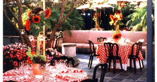 Red And White Checked Tablecloths Italian Dinner Party