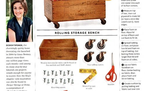 Bench idea from Design*Sponge at Home book in O, the Oprah Magazine