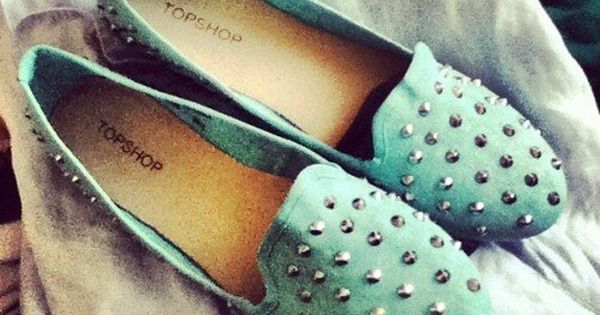 #mint studded loafers. Fall style 2dayslook fashion nice Fallstyle www.2dayslook.com