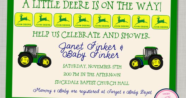 John Deere Baby Shower Invitation printable Baby by laceyfields, $9.00 | Baby Core ...