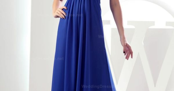 Straps graceful crossed ruffle top floor length dress. Long blue bridesmaid dress