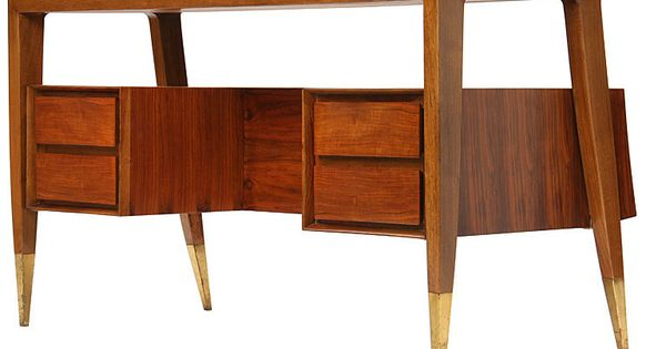 Desk by Gio Ponti - this walnut and brass stunner would be so perfect in my office ...
