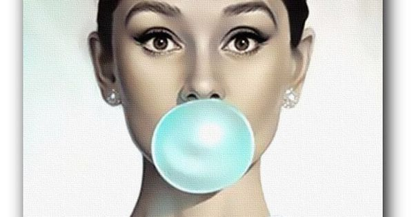 Audrey Hepburn Blue Bubblegum Canvas Art Print Or Poster