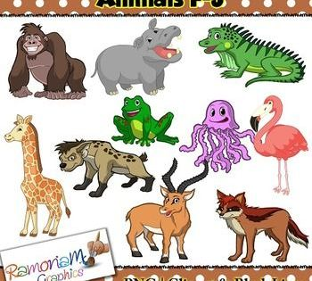 Animal Clip Art F J Contains 2 Animals For Each Of These 5 Letters A Total Of 30 In Color Black Outline And Black And White Each Clip Art Art Animal Clipart