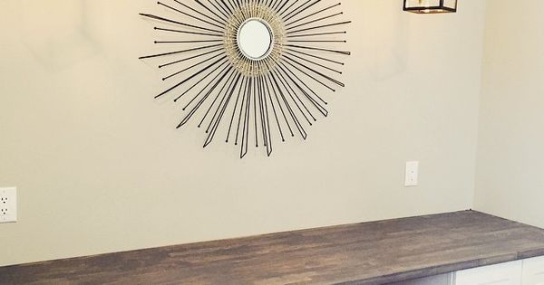DIY Built-In Desk using Ikea butcher block and Home Depot desk height  cabinets. Pendent lights from Lowes. | Designs
