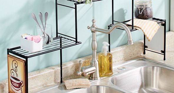 Over The Sink Rack Coffee Kitchen Decor Shelf Space Saver