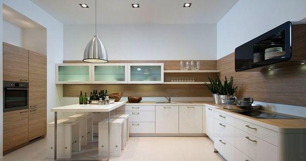 Nolte witte keuken met houtaccenten maar dan met een dik lichtgrijs blad en strakke kastjes - Witte steen leroy merlin ...