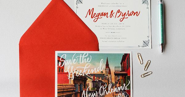 Custom New Orleans Save The Date Custom Calligraphy