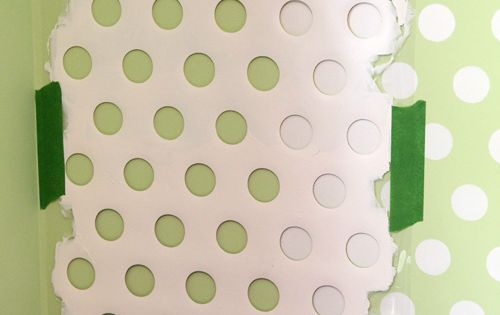 polka dot walls! from an old laundry basket. You never know when