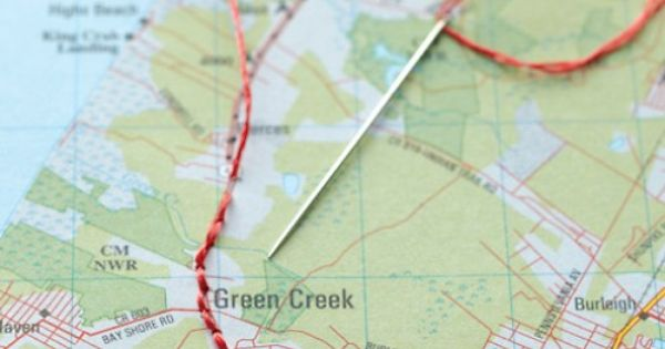 cute idea for a trip / road trip {stitch your trip onto