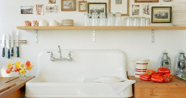 farmhouse sink, open shelves, wooden counters
