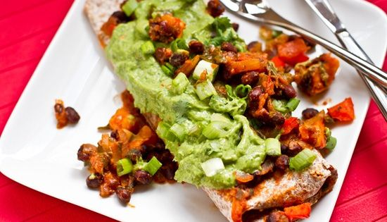 Vegan Sweet Potato, Spinach, and Black Bean Enchiladas with Cilantro Avocado Cream