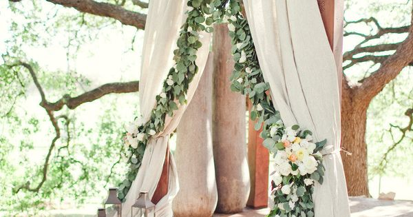 The ceremony site will feature a garland of eucalyptus and bay laurel
