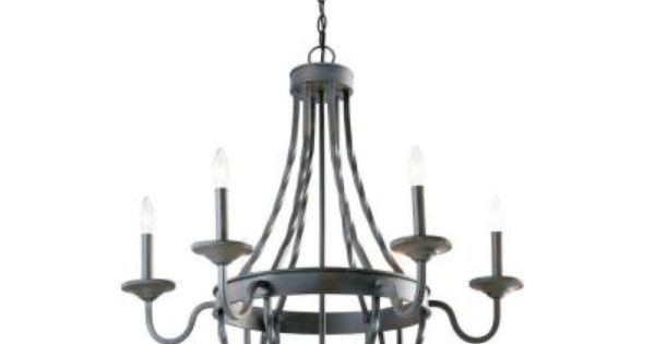 Hampton Bay Barcelona 6 Light Rustic Iron Chandelier GTY9116A 2 At The Home D