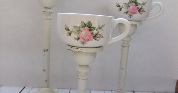 Tea Cup Candleholders Tea Light Votive Candles Vintage Upcycled Shabby Chic Home Decor