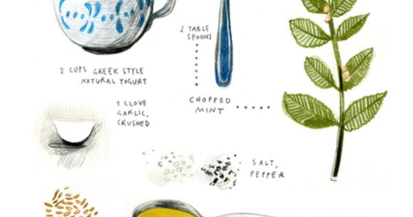 illustrated recipes: tzaziki Art Print by Felicita Sala