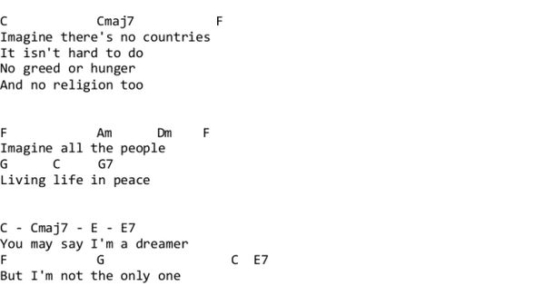 Imagine - John Lennon ukulele tabs : Guitar lyrics and chords : Pinterest : Ukulele tabs, Lyrics ...