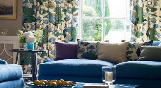 Floral Drapery Fabrics Are A Romantic And Feminine Motif That Enhance Any Home Decor Lar Living Room Drapes Blue And Green Curtains Blue And Green Living Room