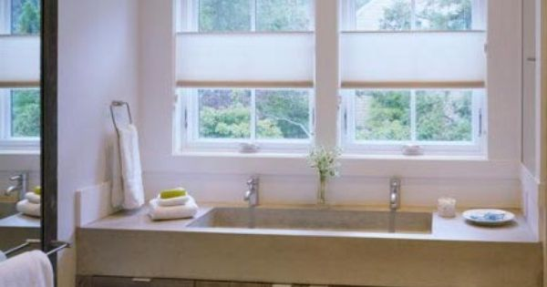 Double Trough Sink with Vanity Cabinet for Simple Bathroom Bath and ...
