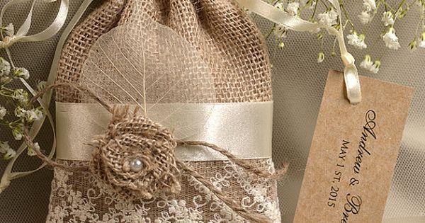 Natural Rustic Burlap Wedding Favor Bag , Natural Birch Bark Wedding Favor,