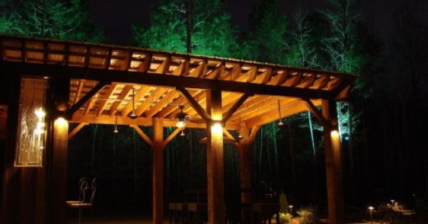 Orion sconces highlight the pergola s beams while the Saturn-I hanging lights light up the ...