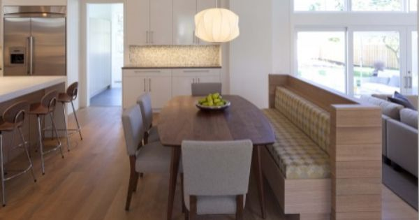 Kitchen banquette serving dual purpose as a room divider for Dual purpose dining room ideas