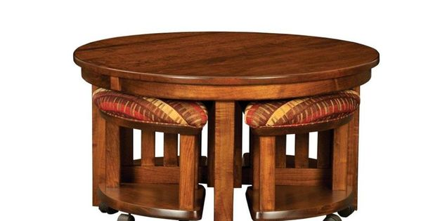 Amish Mission Round Coffee Table And Stool Set With Hydraulic Lift Stools