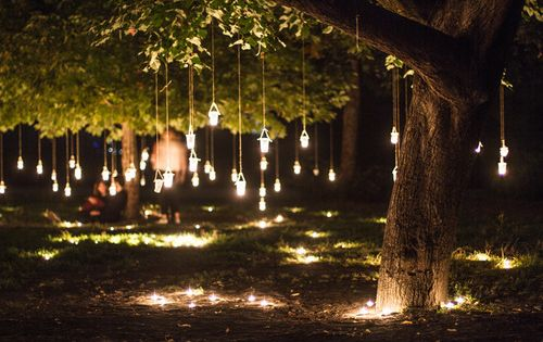 Dangling tree lights home pinterest summer nature for Decoracion jardin noche