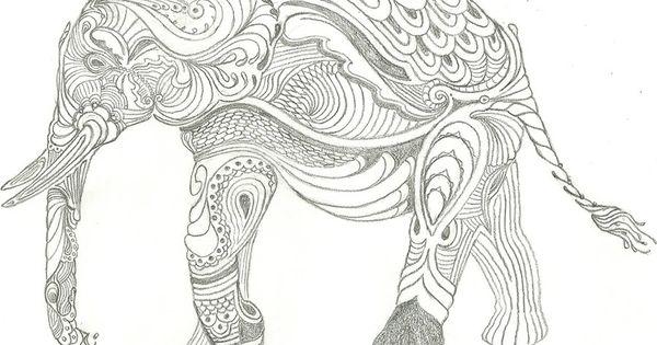 Elephant Zentangle Drawing