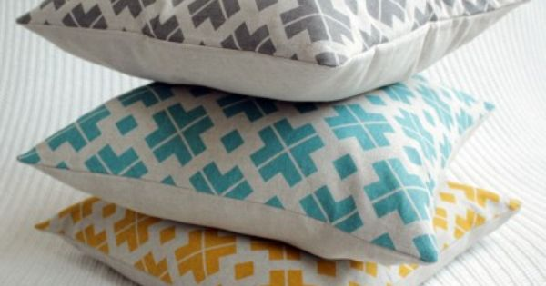hand printed cushions in hip colors petrol mustard. Black Bedroom Furniture Sets. Home Design Ideas