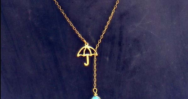 umbrella necklace with turquoise drop turquoise by alapopjewelry... Cute. I would love